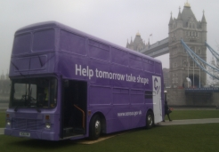 Census bus outside City Hall