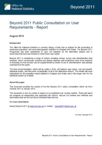 Beyond 2011 Public Consultation on User Requirements – Report